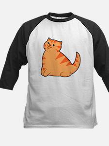 Happy Fat Orange Cat Kids Baseball Jersey