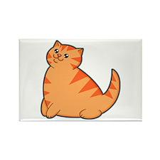Happy Fat Orange Cat Rectangle Magnet