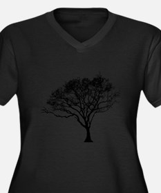 Black Tree Women's Plus Size Dark V-Neck T-Shirt