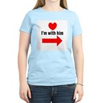 I'm With Him Women's Pink T-Shirt