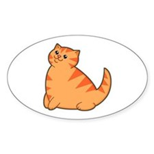 Happy Fat Orange Cat Oval Decal