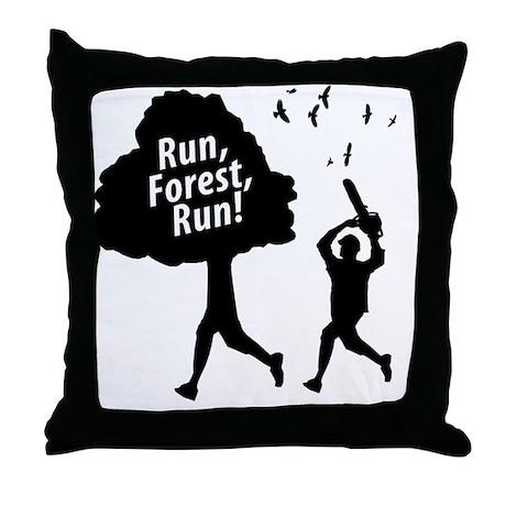 Run Forest Run Throw Pillow