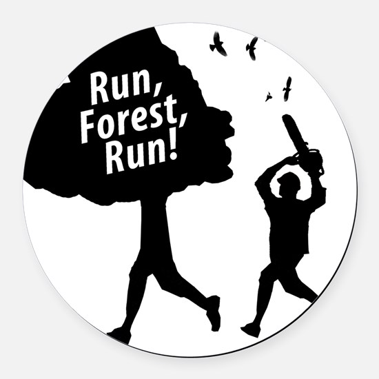 Run Forest Run Round Car Magnet