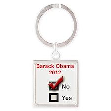 obama-2000-bev-no Square Keychain