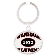 Owensboro 1977 Alumni black with red Oval Keychain