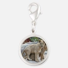 lion cubs-MP Silver Round Charm
