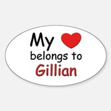 My heart belongs to gillian Oval Decal