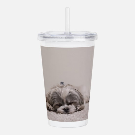 Shih Tzu Puppy Rests Acrylic Double-wall Tumbler