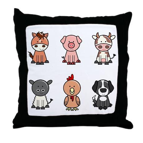 Farm Animal Throw Pillows : farm animal set Throw Pillow by Admin_CP525954