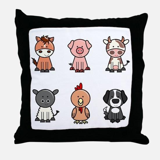 farm animal set Throw Pillow