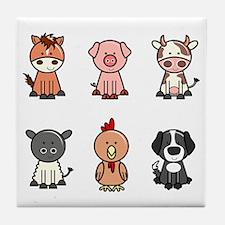 farm animal set Tile Coaster