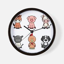 farm animal set Wall Clock