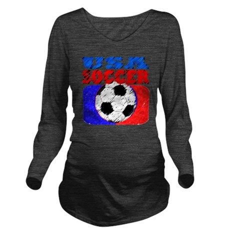 usa soccer slant 4 Long Sleeve Maternity T-Shirt