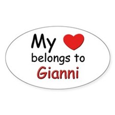 My heart belongs to gianni Oval Decal