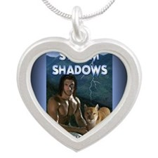 Storm Shadows rect mag Silver Heart Necklace