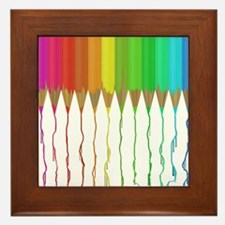 Melting Rainbow Pencils Framed Tile