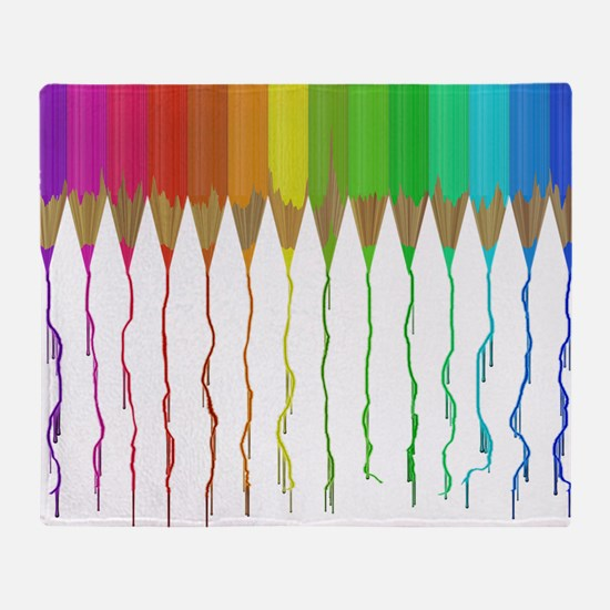 Melting Rainbow Pencils Throw Blanket
