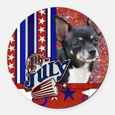 July_4_Firecracker_Chihuahua_Isab Round Car Magnet