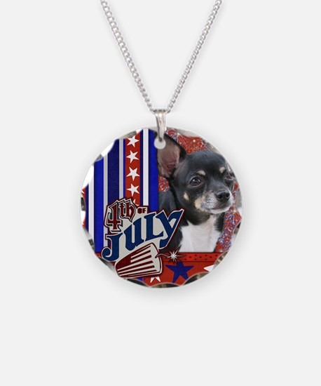 July_4_Firecracker_Chihuahua Necklace Circle Charm
