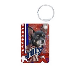 July_4_Firecracker_Chihuah Aluminum Photo Keychain