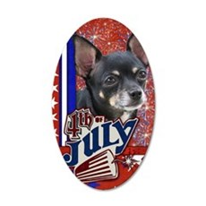 July_4_Firecracker_Chihuahua 35x21 Oval Wall Decal