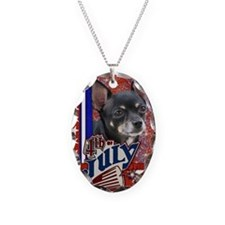 July_4_Firecracker_Chihuahua_I Necklace Oval Charm