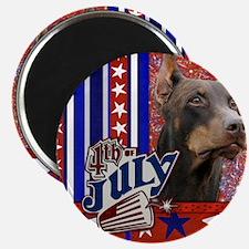 July_4_Firecracker_Doberman_Rocky_Sq Magnet