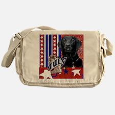 July_4_Firecracker_Labrador_Black_Ga Messenger Bag