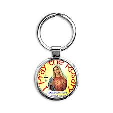 pray_button_6x6_yellow_slant Round Keychain