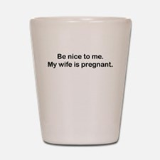 BE NICE TO ME MY WIFE IS PREGNANT Shot Glass