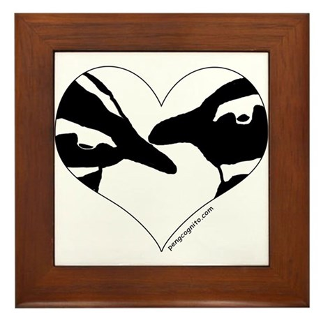 Penguin kiss (heart design) Framed Tile