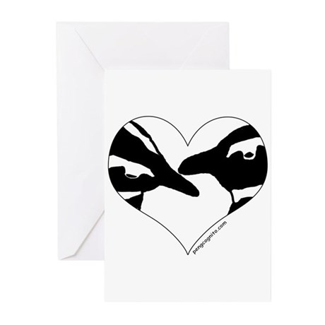 Penguin kiss (heart design) Greeting Cards (Packag