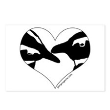 Penguin kiss (heart design) Postcards (Package of