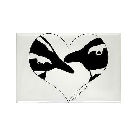 Penguin kiss (heart design) Rectangle Magnet (10 p