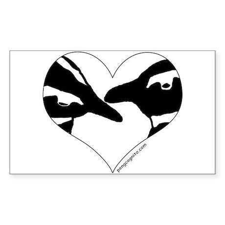 Penguin kiss (heart design) Rectangle Sticker