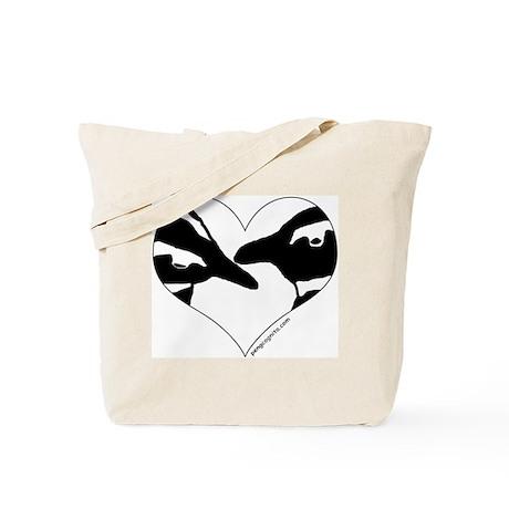 Penguin kiss (heart design) Tote Bag