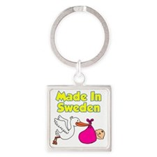 Made In Sweden Girl Square Keychain