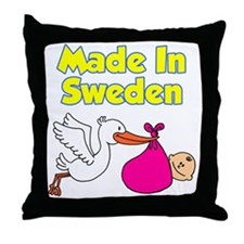 Made In Sweden Girl Throw Pillow