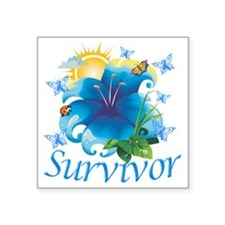 "Survivor flower blue Square Sticker 3"" x 3"""