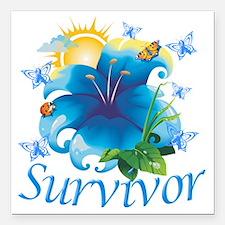 "Survivor flower blue Square Car Magnet 3"" x 3"""