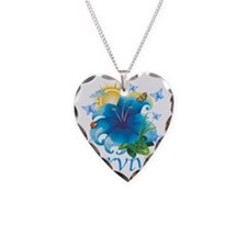 Survivor flower blue Necklace Heart Charm