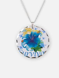 Survivor flower blue Necklace Circle Charm