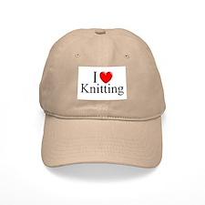 """I Love (Heart) Knitting"" Baseball Cap"