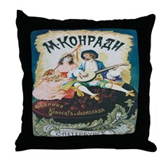 Russian Chocolate Vintage Ad Throw Pillow