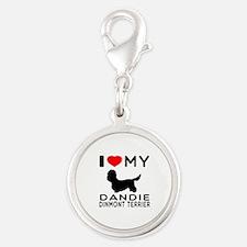 I Love My Dandie Dinmont Terrier Silver Round Char