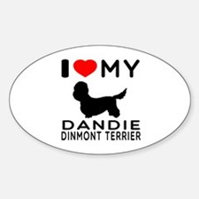 I Love My Dandie Dinmont Terrier Sticker (Oval)
