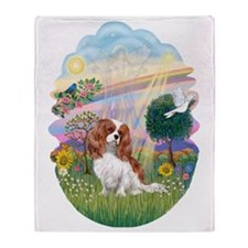 OvOrn-CloudAngel-Cavalier (Blenheim) Throw Blanket