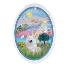 Angel Star - American Eskimo Dog Oval Ornament