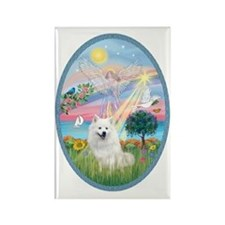 Angel Star - American Eskimo Dog Rectangle Magnet