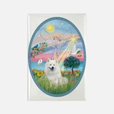 Angel Star - American Eskimo Dog Rectangle Magnet